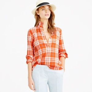 J. Crew Gauzy Popover Shirt Orange Plaid